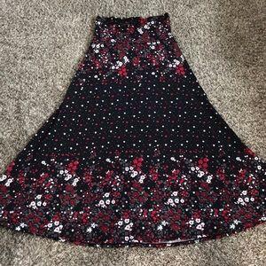 LuLaRoe Black And Floral Maxi Skirt